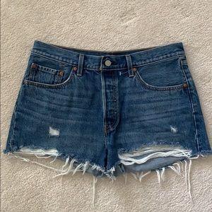 Levi's 501 distressed denim shorts for sale!